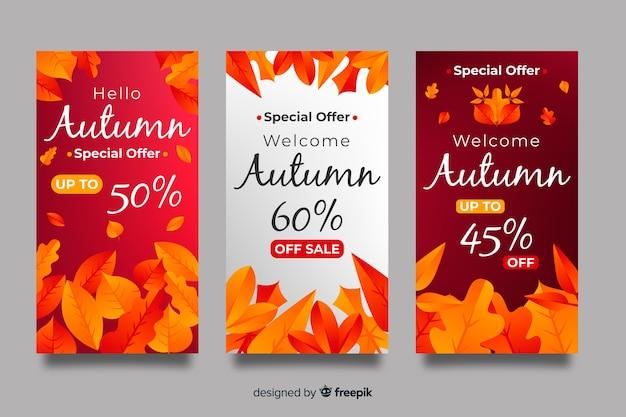 Collectie van herfst verkoop banner plat ontwerp Gratis Vector
