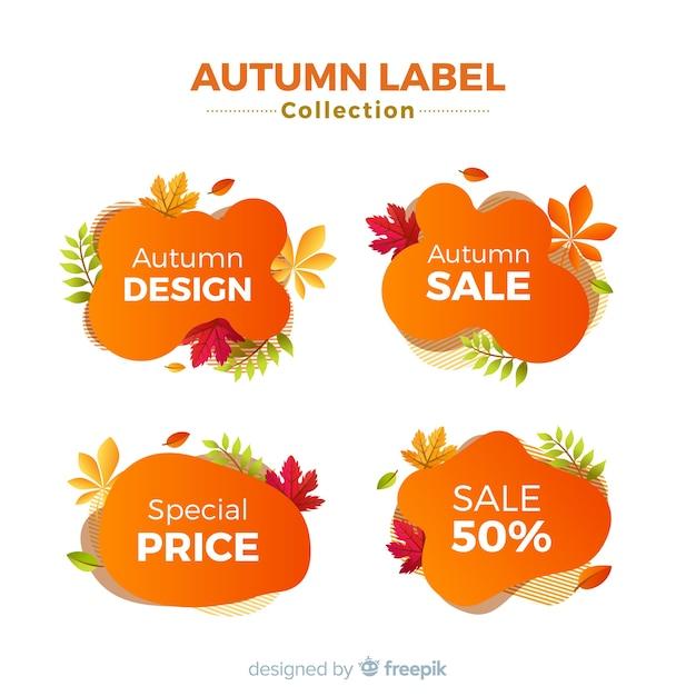 Collectie van herfst verkoop labels platte ontwerp Gratis Vector
