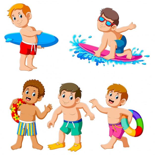 Collectie van jongen op zomervakantie Premium Vector