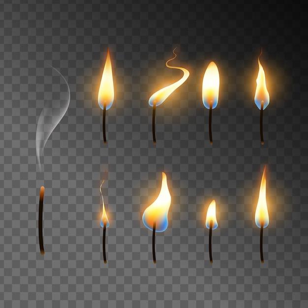 Collectie van kaarsen vlam Gratis Vector