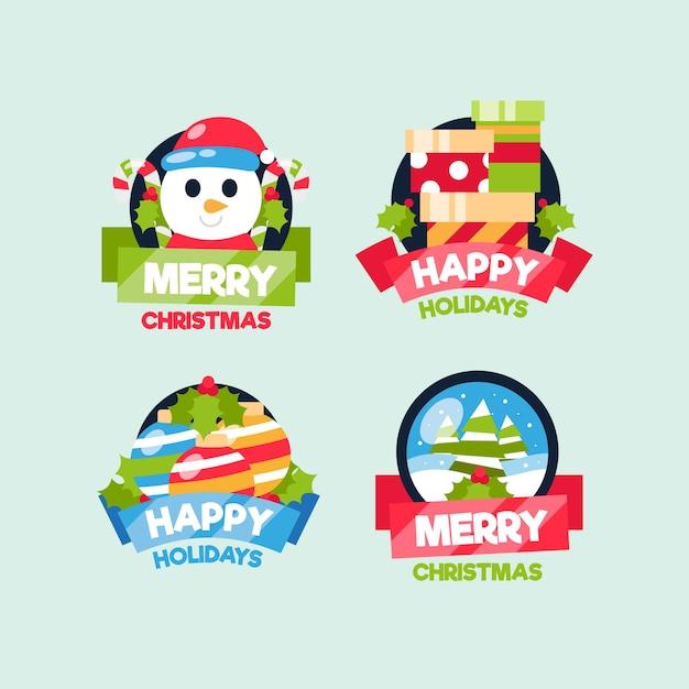 Collectie van kerst badge in plat ontwerp Gratis Vector