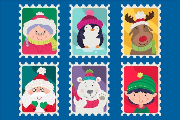 Collectie van kerstzegel in plat ontwerp Gratis Vector