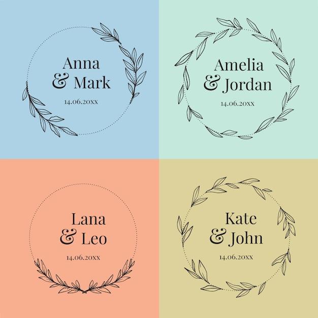 Collectie van kleurrijke bruiloft monogrammen Gratis Vector