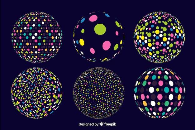 Collectie van kleurrijke deeltjes 3d geometrische vormen Gratis Vector