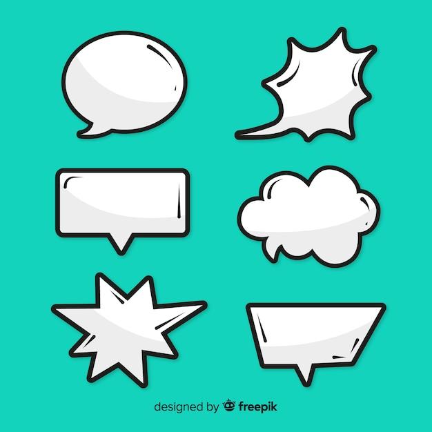 Collectie van lege komische tekstballonnen Gratis Vector