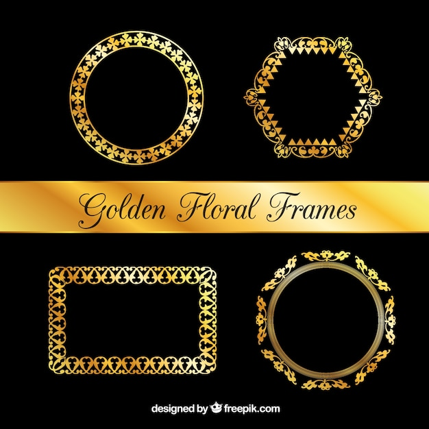 Collectie van luxe bloemen frames Gratis Vector