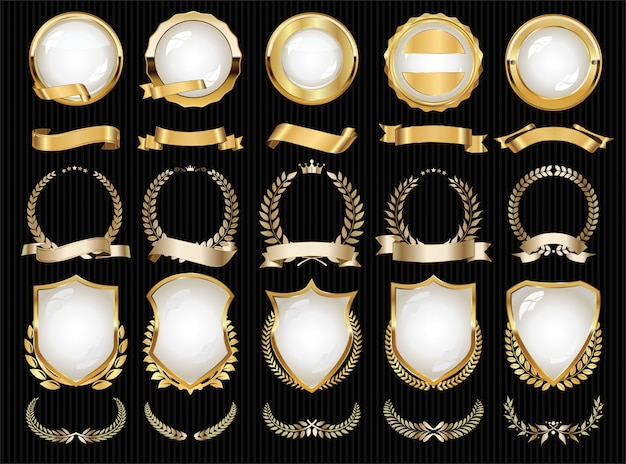 Collectie van luxe gouden designelementen badges labels en lauweren Premium Vector