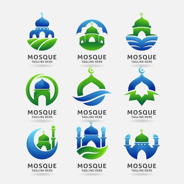 Collectie van moskee logo-ontwerp Premium Vector