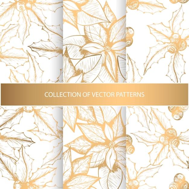 Collectie van naadloze patronen met gouden bloemenelementen Premium Vector