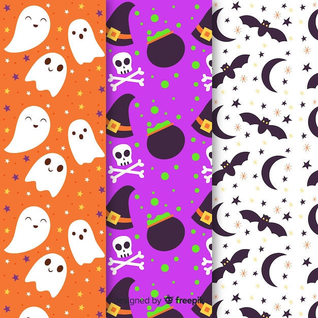 Collectie van platte halloween patroon Gratis Vector