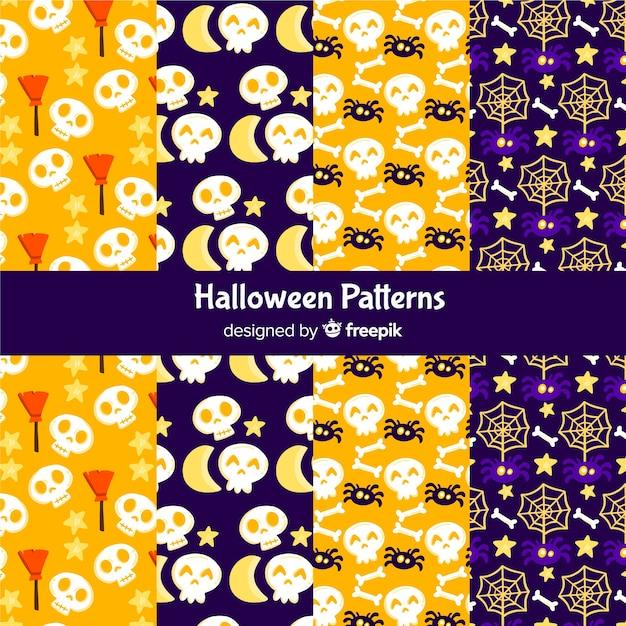 Collectie van platte halloween patroon Gratis Vector