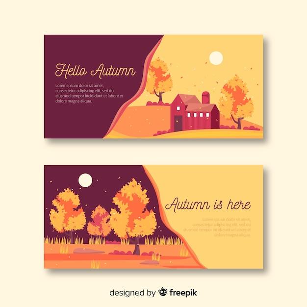 Collectie van platte herfst banners Gratis Vector