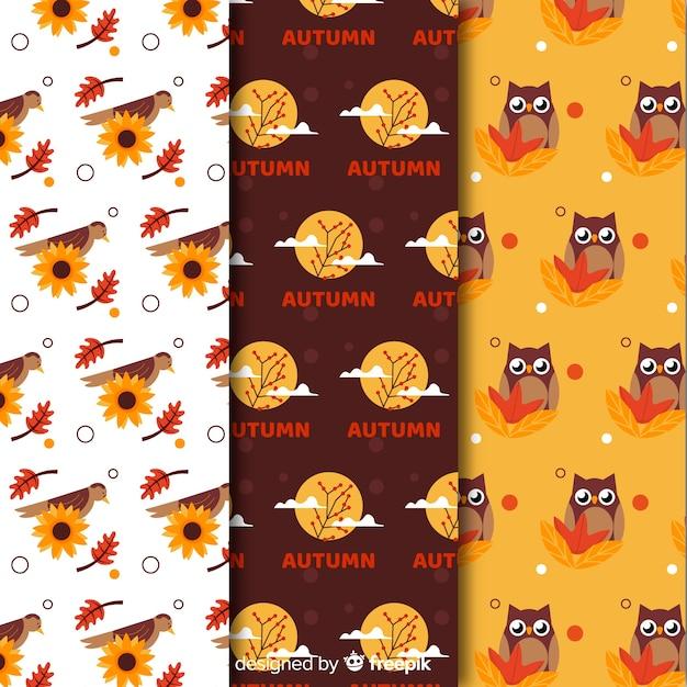 Collectie van platte herfst patronen Gratis Vector