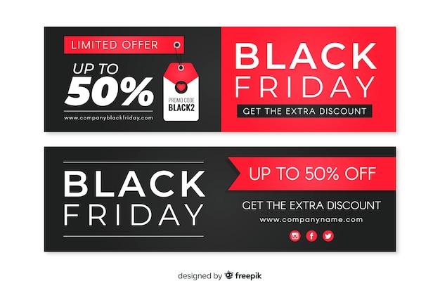 Collectie van platte ontwerp zwarte vrijdag banners Gratis Vector