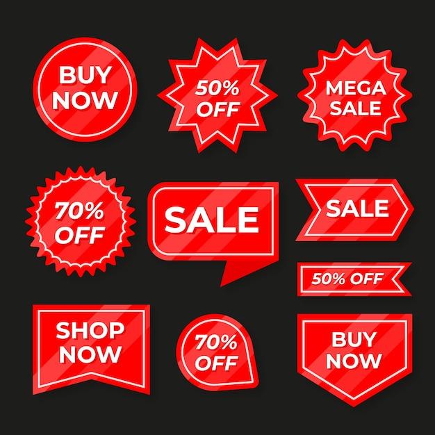 Collectie van rode verkooplabel Gratis Vector
