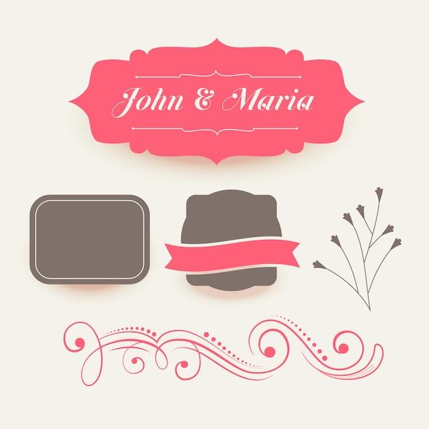 Collectie van roze bruiloft decoratie elementen Gratis Vector