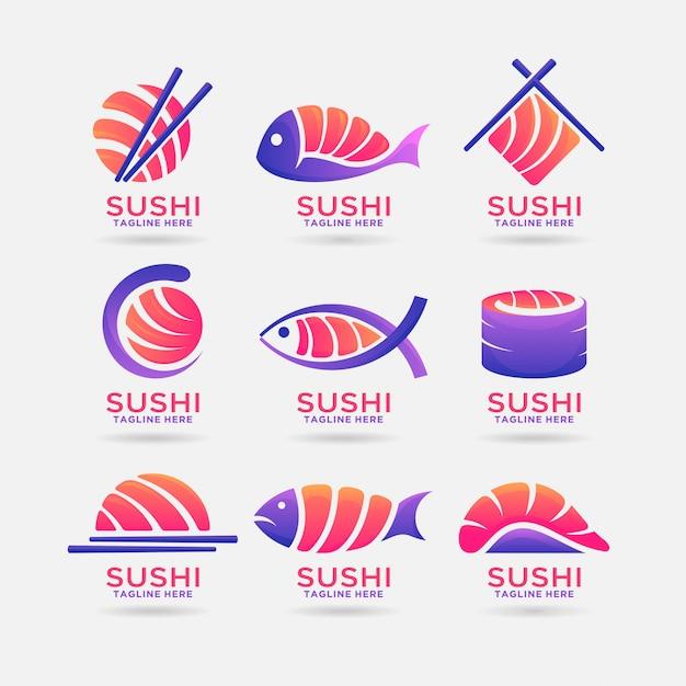 Collectie van sushi logo-ontwerp Premium Vector