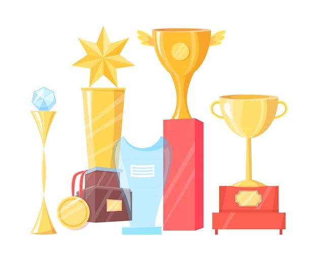 Collectie van verschillende awards illustratie Premium Vector
