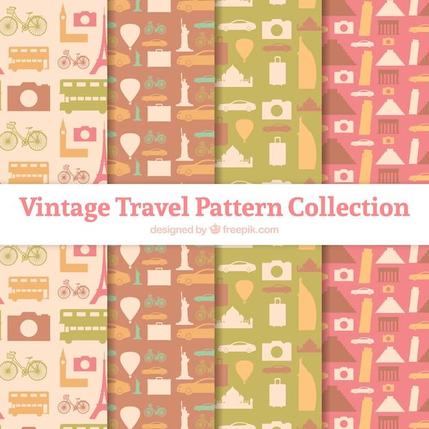 Collectie van vintage reispatronen Gratis Vector