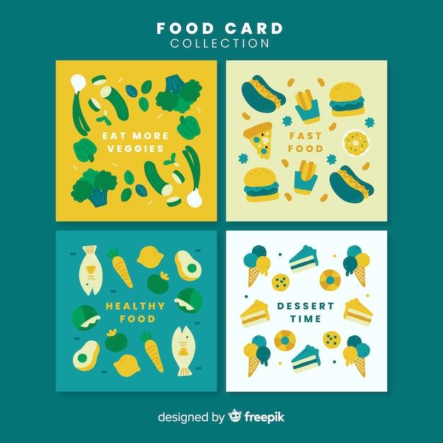 Collectie van voedselkaarten Gratis Vector