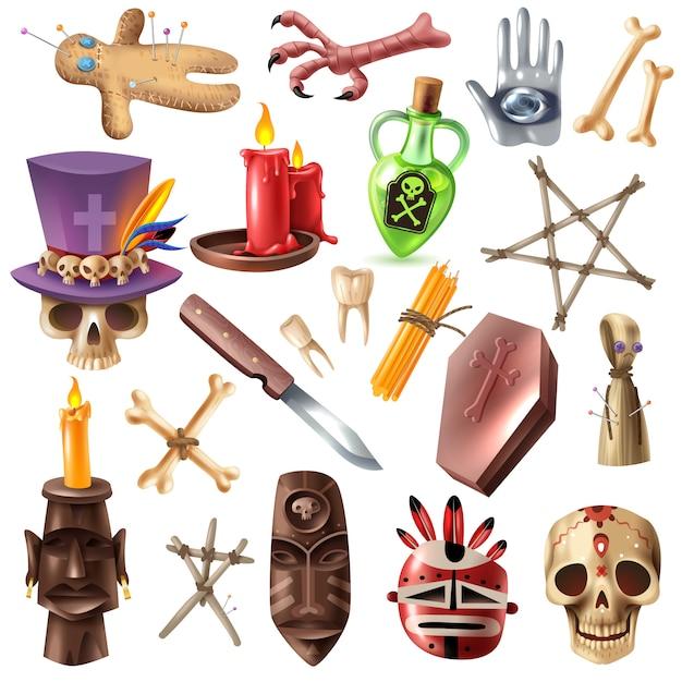 Collectie van voodoo-afrikaanse occulte praktijkenattributen met schedelbeenderen maskeert kaarsen rituele poppen realistische vectorillustratie Gratis Vector