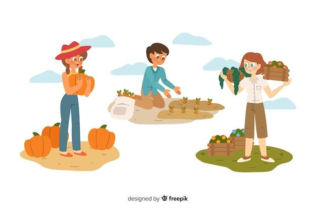 Collectie van werknemers in de landbouw plat ontwerp Gratis Vector