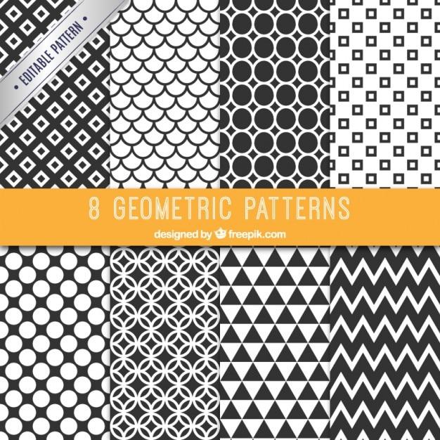 Collectie van zwarte en witte patronen Gratis Vector