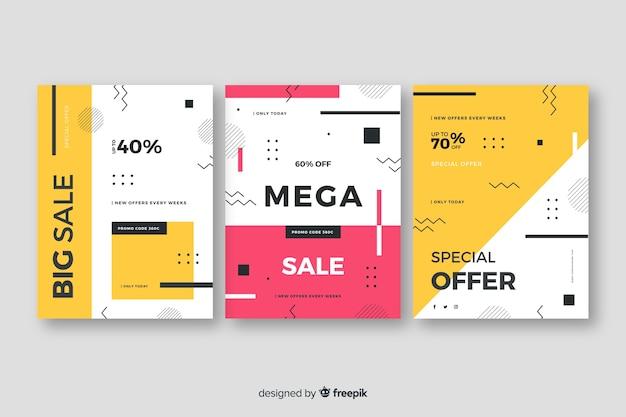 Collectie verkoopbanners in memphis-stijl Gratis Vector