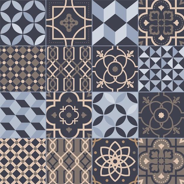 Collectie vierkante keramische tegels met diverse geometrische en traditionele oosterse patronen Premium Vector