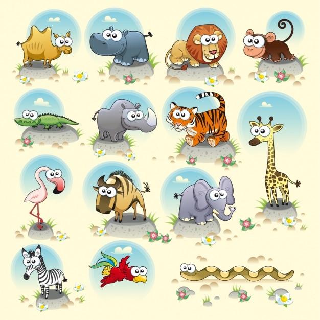 Collectie wilde dieren Gratis Vector