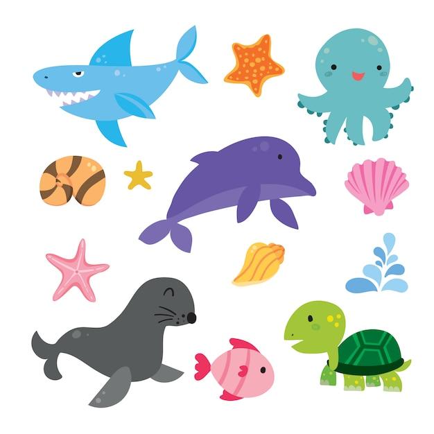 Collectie zee leven illustraties Gratis Vector