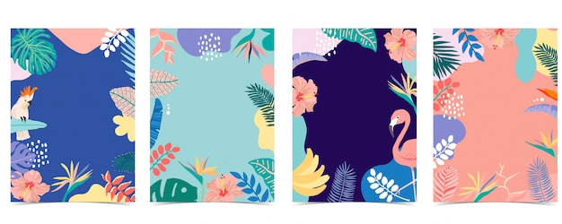 Collectie zomer achtergrond instellen met palm, flamingo, bloem. tags: 12 (min. 5 - max. 50 tags) Premium Vector