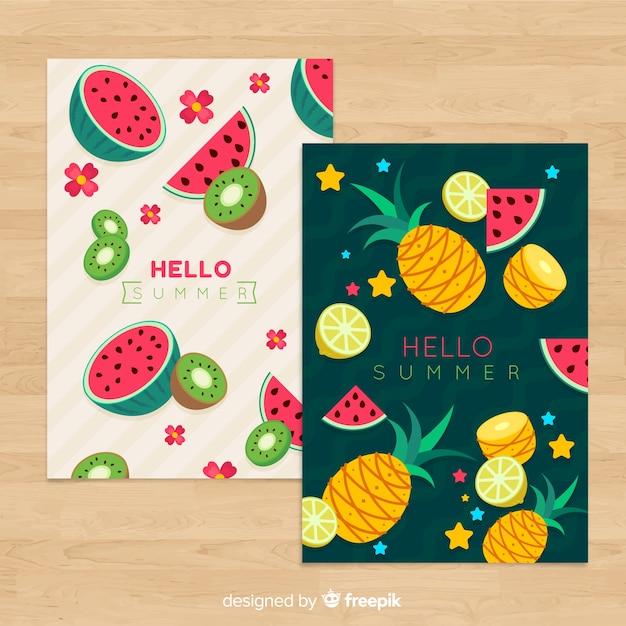 Collectie zomerkaarten Gratis Vector