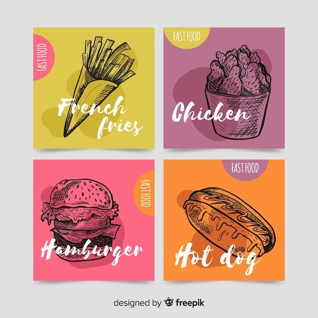 Collectiekaart voor eten Gratis Vector