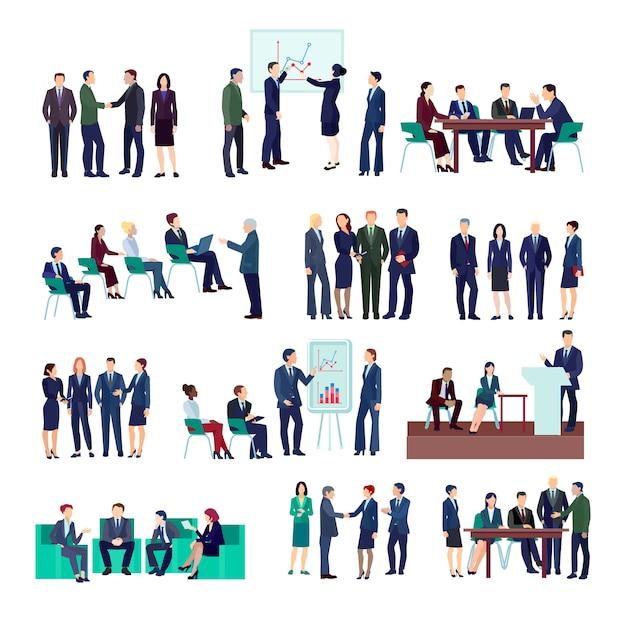 Collecties bedrijfsmensengroepen op vergaderingenconferenties conferentie die verschillende projecten bespreken Gratis Vector