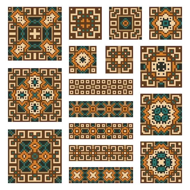 Collecties met geometrische abstracte ornamenten instellen. etnische patronen Premium Vector