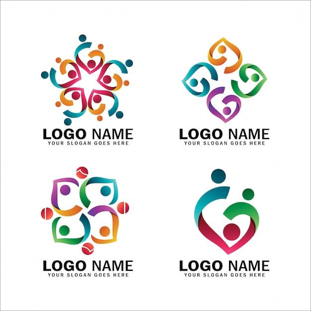 Collecties van kinderadoptie-logo's en liefdadigheidsinstellingen, pakket logo's van gelukkige familiesymbolen, verloskundigen, gemeenschappen en sociale relaties Premium Vector