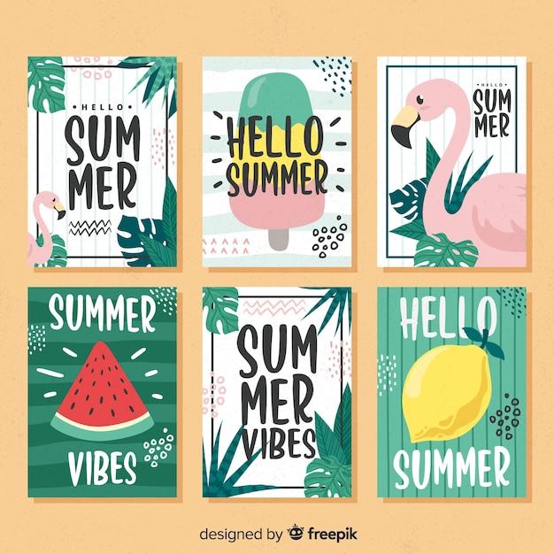 Collectio voor zomerkaarten Gratis Vector