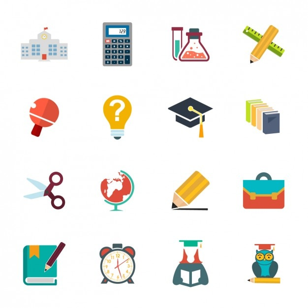 Collection icon school Gratis Vector