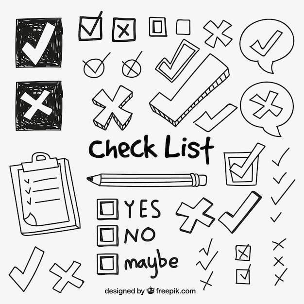 Collection of check symbolen Gratis Vector