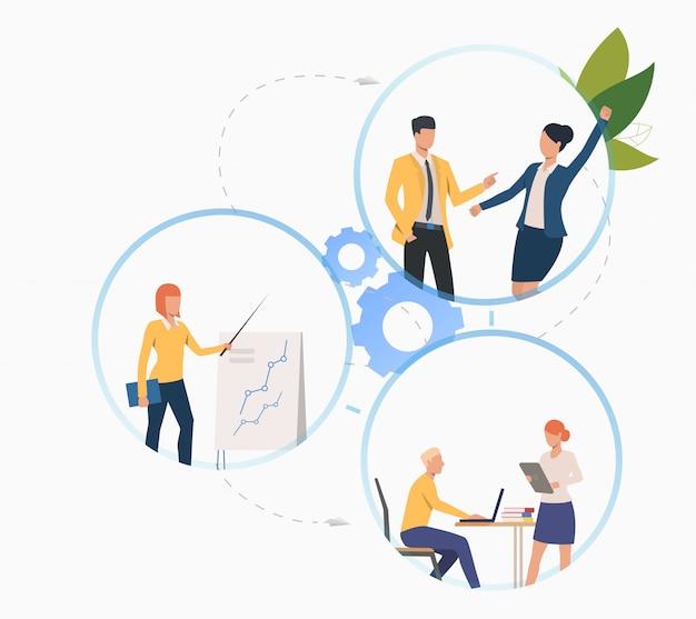 Collega's die aan een project werken en analyses presenteren Gratis Vector