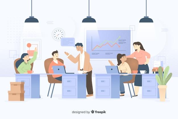Collega's die op het geïllustreerde kantoor samenwerken Gratis Vector