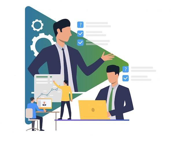 Collega's plannen en maken objectief Gratis Vector