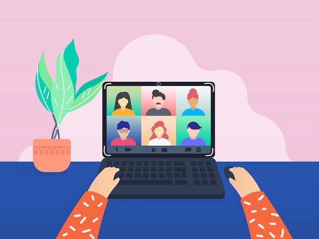 Collega's praten met elkaar via een videogesprek. Premium Vector