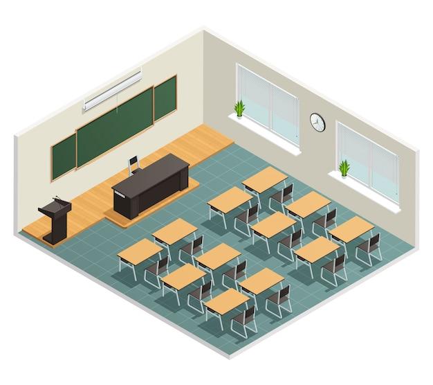Collegezaal met grote krijtbordtafels enorme zwarte tafel voor docent en tribune Gratis Vector