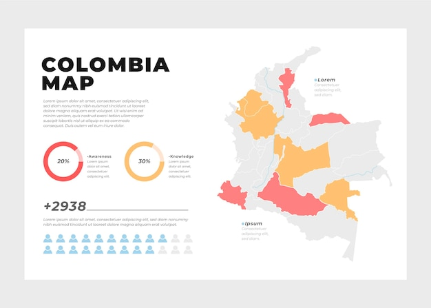 Colombia kaart infographic in plat ontwerp Premium Vector