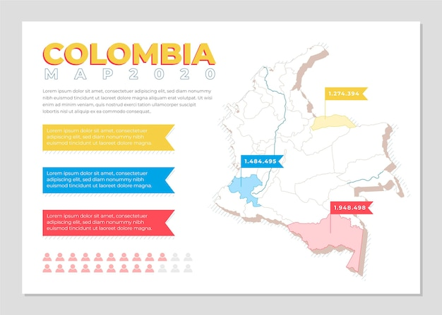 Colombia kaart infographic in plat ontwerp Premium Vector