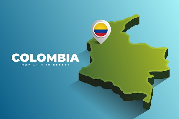 Colombia kaartlocatie pin Premium Vector