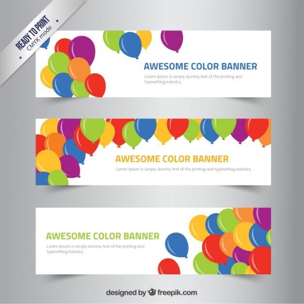 Color banners met ballonnen Vector   Gratis Download
