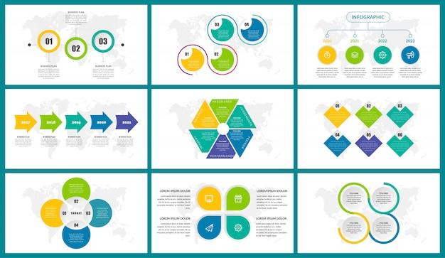 Colorfull business infographic element design bundle set Premium Vector